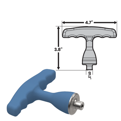 MedTorque silicone handles are used on various medical tools like this handle the 3HT13 T Handle sized large.